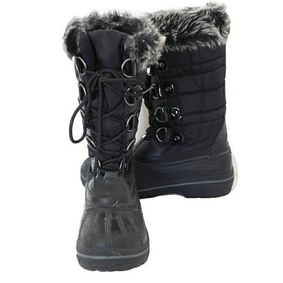ec022020de1 QUEST WOMENS INSULATED FAUX FUR SNOW BOOTS